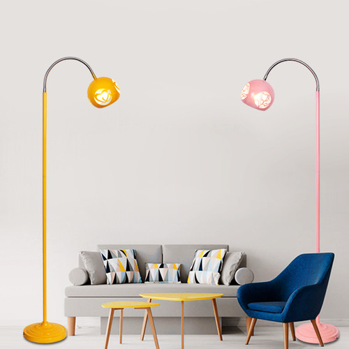 Modern LED Floor Lamp Metal Hollow out Shade Colorful Creative Bedroom Living Room from Singapore best online lighting shop horizon lights