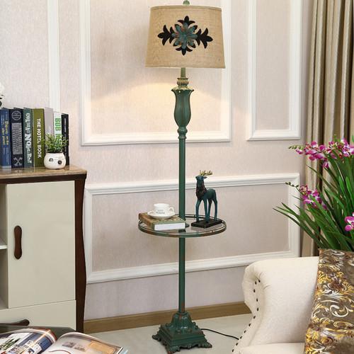 American LED Floor Lamp Linen Lampshade Metal Multifunction Bedroom Living Room from Singapore best online lighting shop horizon lights