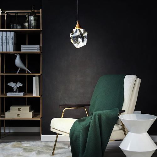 Modern LED Pendant Light Crystal Copper Diamond Shape Luxurious Home Decor from Singapore best online lighting shop horizon lights