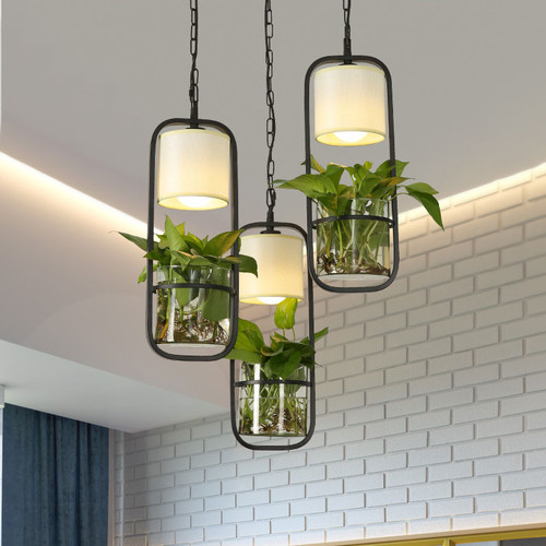 Modern LED Pendant Light Fabric Shade Metal Frame Glass Pot Plant Restaurants Dining Room from Singapore best online lighting shop horizon lights