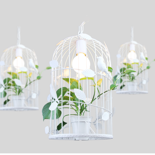 Modern LED Pendant Light Metal Resin Birdcage Plants Dining Room Resataurant Decor from Singapore best online lighting shop horizon lights