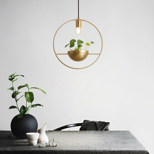 Nordic Style LED Pendant Light Metal Annulus Shade Artificial Plant Creative Dining Room from Singapore best online lighting shop horizon lights