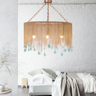 American Retro LED Pendant Light Metal Chain Fringe Glass Shade Mermaid's tears Home Decor from Singapore best online lighting shop horizon lights