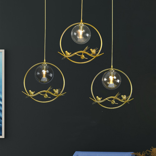 Modern LED Pendant Light Glass Ball Shade Metal Bird Decoration Bedroom Dining Room from Singapore best online lighting shop horizon lights