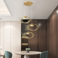 Modern LED Pendant Light Metal Frame Fish Shape Creative Dining Room Restaurant from Singapore best online lighting shop horizon lights