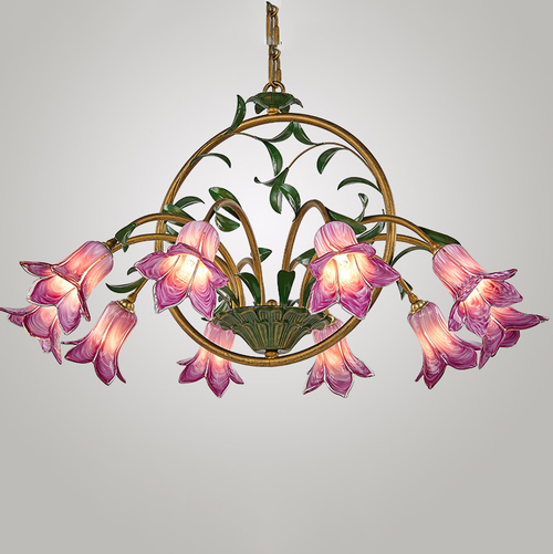 American Country Style LED Chandelier Light Glass Flowers Shade Metal Living Dining Room Decor from Singapore best online lighting shop horizon lights