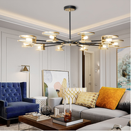 Modern LED Chandelier Light Glass Disc Lampshade Metal Living Room Dining Room from Singapore best online lighting shop horizon lights