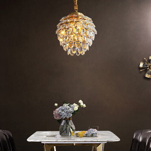 American LED Pendant Light H65 Copper Crystal Pine cone Shape Dining Room Decor from Singapore best online lighting shop horizon lights