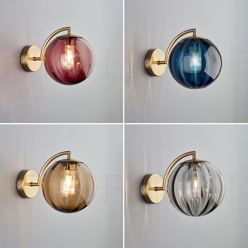 Modern LED Wall Light Glass Ball Lampshade Metal Unique Bedroom Living Room from Singapore best online lighting shop horizon lights