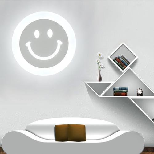 Modern LED Wall Light 2PCS Acrylic Metal Smilng Face Creative Corridor Bedroom from Singapore best online lighting shop horizon lights