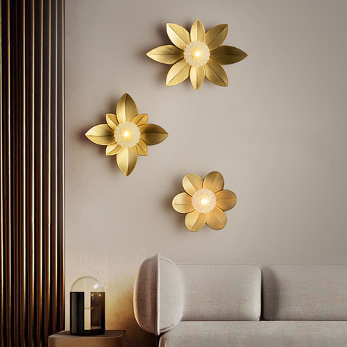 American LED Wall Light H65 Copper Glass Flower Shape Creative Living Room Corridor Decor from Singapore best online lighting shop horizon lights