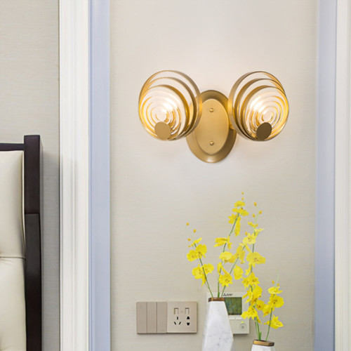 Post-modern LED Wall Light Glass Ripple Sheet Shade Metal Bedroom Corridor Decor from Singapore best online lighting shop horizon lights