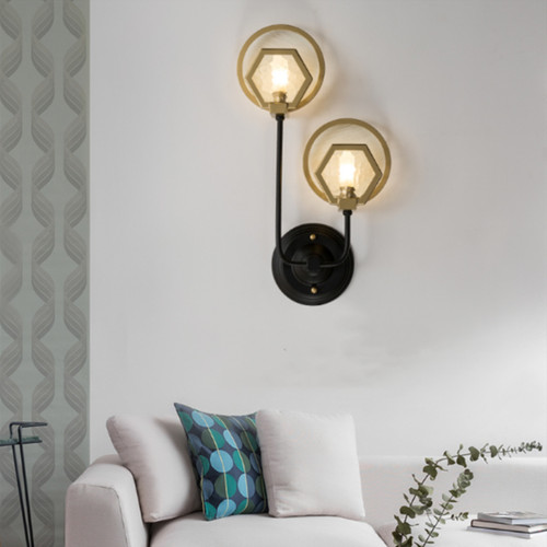 Modern LED Wall Light Metal Glass Polygon Creative Bedroom Living Room Decor from Singapore best online lighting shop horizon lights