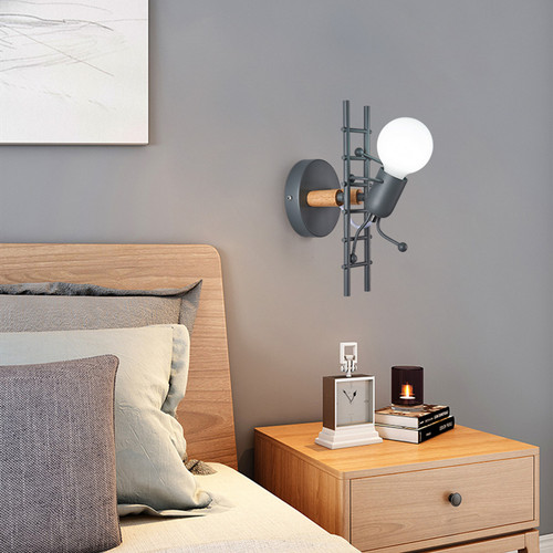 Modern LED Wall Light Metal Wood Figure Climbing Stairs Bedroom Study Room from Singapore best online lighting shop horizon lights
