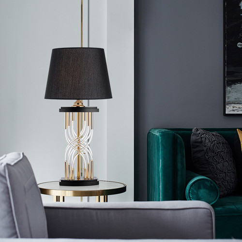 Modern LED Table Lamp Fabric Lampshade Glass Tubes Metal Bedroom Living Room Decor from Singapore best online lighting shop horizon lights