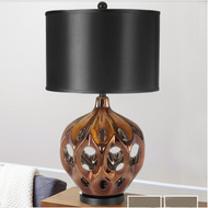 Modern LED Table Lamp Ceramic Body Fabric Lampshade Unique Bedroom Living Room from Singapore best online lighting shop horizon lights