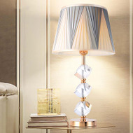 Modern LED Table Lamp Fabric Lampshade K9 Crystal Holder Bedroom Living Room Decor from Singapore best online lighting shop horizon lights