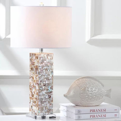 Nordic LED Table Lamp Fabric Lampshade Shell Metal Holder Living Room Bedroom Decor from Singapore best online lighting shop horizon lights