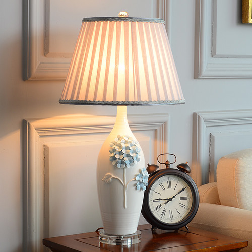 Modern LED Table Lamp Fabric Lampshade Ceramic Emboss Flowers Bedroom Decor from Singapore best online lighting shop horizon lights