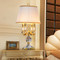American LED Table Lamp Cloth Lampshade Metal K9 Crystal Luxurious Home Decor from Singapore best online lighting shop horizon lights
