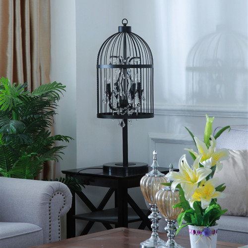 American Country LED Table Lamp Metal Crystal Birdcage Shape Living Room Hollway from Singapore best online lighting shop horizon lights