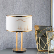 New Chinese style LED Table Lamp Cloth Landscape Painting Shade Metal Home Decor from Singapore best online lighting shop horizon lights