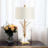 American LED Table Lamp Fabric Shade Metal Crystal Bedroom Living Room from Singapore best online lighting shop horizon lights