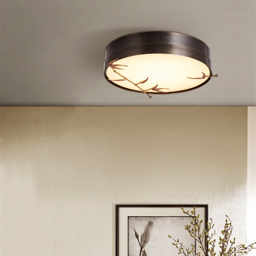 New Chinese style LED Ceiling Light Copper Glass Circle Bamboo Pattern Bedroom Living Room from Singapore best online lighting shop horizon lights