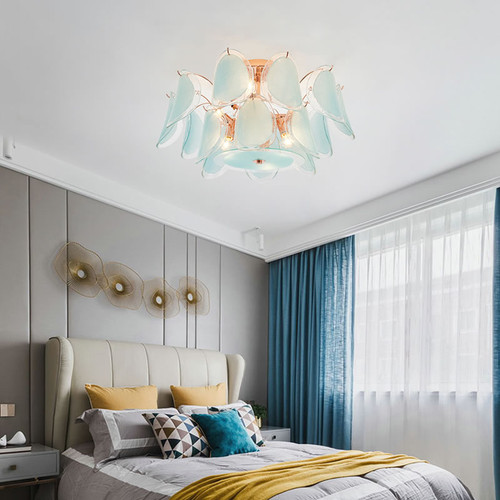 Nordic style LED Ceiling Light Glass Leaves Lampshade Metal Luxurious Bedroom Living Room from Singapore best online lighting shop horizon lights