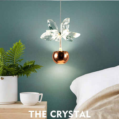 Modern LED Pendant Light K9 Crystal Leaves Aluminum Apple Shape Multi-heads Dining Room from Singapore best online lighting shop horizon lights