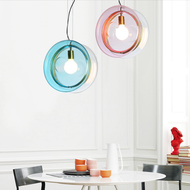 Modern LED Pendant Light Colorful Glass Disc Shade Metal Creative Bedroom Bar from Singapore best online lighting shop horizon lights