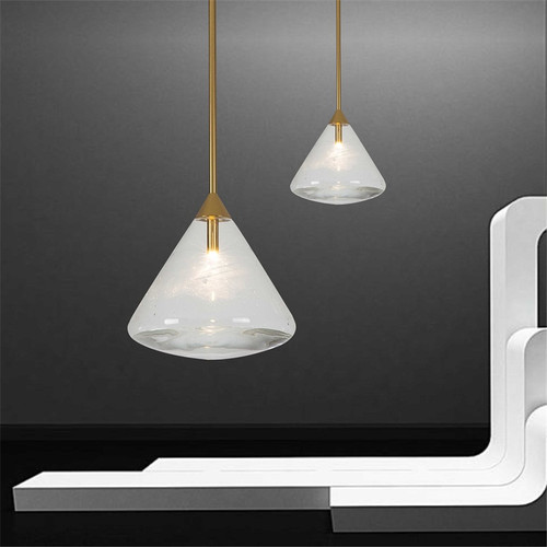 Modern LED Pendant Light Glass Cone Shape Metal Creative Cafe Bar Dining Room from Singapore best online lighting shop horizon lights