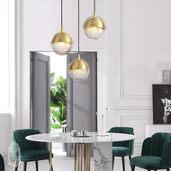 Modern LED Pendant Light Copper Glass Ball Lampshade Dining Room Bar from Singapore best online lighting shop horizon lights