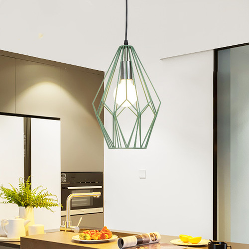 Modern LED Pendant Light 2PCS Metal Frame Diamond Shape Loft Simple Dining Room Bar from Singapore best online lighting shop horizon lights