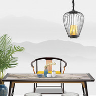 Modern LED Pendant Light Metal Birdcage Cloth Sahde Corridor Dining Room Decor from Singapore best online lighting shop horizon lights