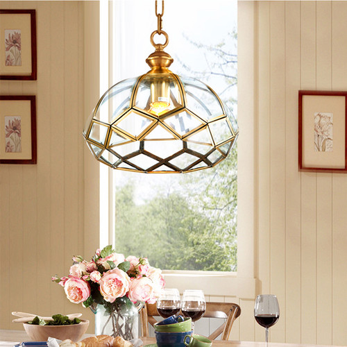 American LED Pendant Light Copper Glass Joint Simple Dining Room Bedroom from Singapore best online lighting shop horizon lights