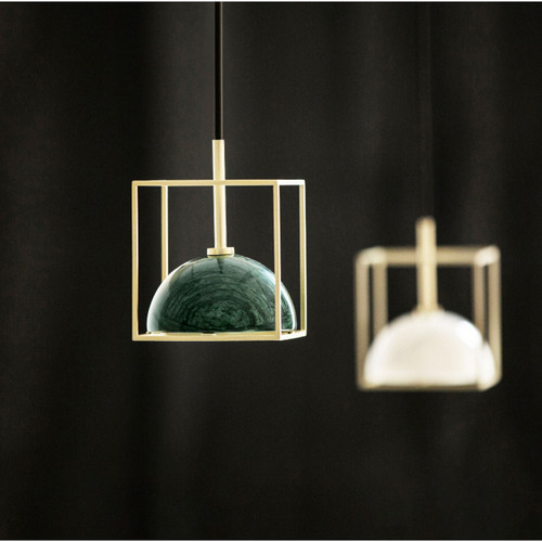 Modern LED Pendant Light Marble Shade Copper Square Frame Creative Dining Room from Singapore best online lighting shop horizon lights