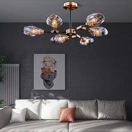 Modern LED Chandelier Light Glass Lampshade Metal Molecular Lamp Living Room from Singapore best online lighting shop horizon lights
