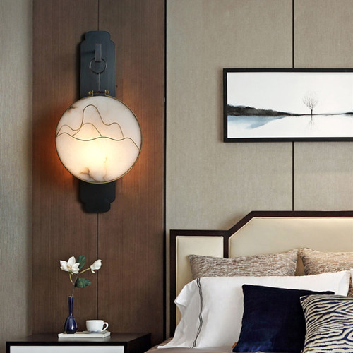 New Chinese style LED Wall Light Glass/Marble Disc Shade Copper Corridor Hallway from Singapore best online lighting shop horizon lights