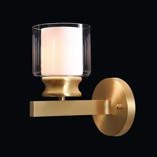 American LED Wall Light Glass Lampshade H65 Copper Simple Bedroom Living Room from Singapore best online lighting shop horizon lights