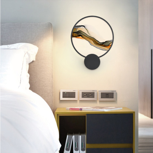 New Chinese style LED Wall Light Metal Acrylic Ink Painting Circle Ring Bedroom Corride Decor from Singapore best online lighting shop horizon lights