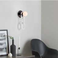Modern LED Wall Light Glass Ball Shade Metal Chain Creative Hallway Living Room Decor from Singapore best online lighting shop horizon lights