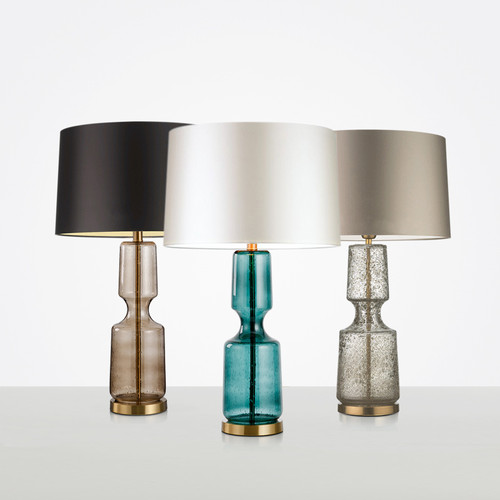 Modern LED Table Lamp Colorful Glass Body Fabric Lampshade Fashion Study Room from Singapore best online lighting shop horizon lights