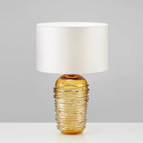 Modern LED Table Lamp Glass Body Fabric Lampshade Unique Bedroom Living Room from Singapore best online lighting shop horizon lights