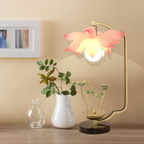 New Chinese Style LED Table Lamp Resin Lotus Metal Ceramics Sofe Bedside Reading Light from Singapore best online lighting shop horizon lights