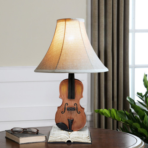 Modern LED Table Lamp Fabric Shade Resin Metal Violin Book Base Unique Home Decor from Singapore best online lighting shop horizon lights