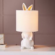 Modern LED Table Lamp Resin Rabbit Shape Fabric Shade Cute Bedroom Hallway Decor from Singapore best online lighting shop horizon lights