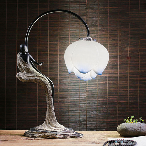 New Chinese Style LED Table Lamp Resin Monk Lotus Hallway Tea Room Decor from Singapore best online lighting shop horizon lights