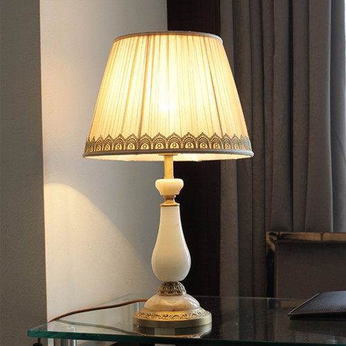 European LED Table Lamp Cloth Jade Copper Luxurious Simple Living Room Bedroom from Singapore best online lighting shop horizon lights