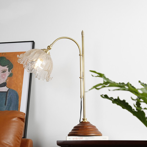 American style LED Table Lamp Glass Flower Shade Wood Copper Classical Home Decor from Singapore best online lighting shop horizon lights